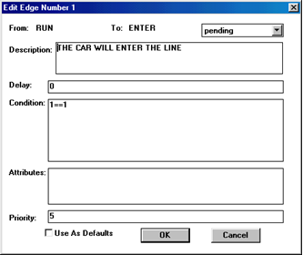 Edge Dialog Box from RUN Vertex to ENTER Vertex Schedules the First Customer Arrival