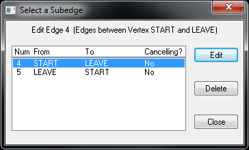 Multiple Edge Dialog Box between START and  LEAVE Vertices